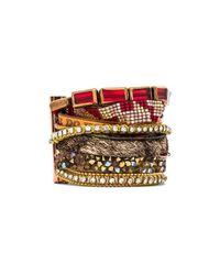 Hipanema - Metallic Bracelet With Faux Fur - Lyst