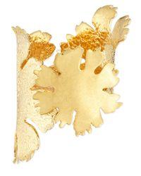 Alexander McQueen | Metallic Lotus Flower Golden Cuff Bracelet | Lyst