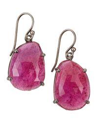 Bavna | Metallic Sterling Silver Ruby Dangle Earrings | Lyst