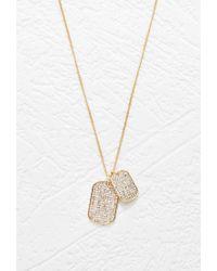 Forever 21 - Metallic Rhinestone Dog Tag Necklace - Lyst