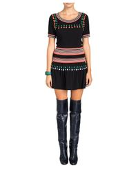 Cynthia Rowley Black Racer Rib Fitted Crepe Top With Cabochon Detail