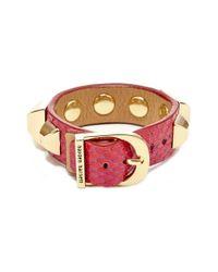 hayden-harnett | 'ramone' Studded Cuff - Hot Pink Watersnake | Lyst