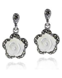 Aeravida | White Vintage Style Carved Rose Mop Marcasite 925 Silver Drop Earrings | Lyst
