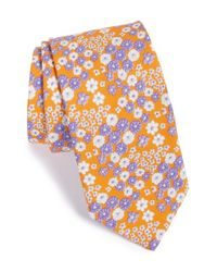 Ted Baker | Orange 'swimsuit' Floral Cotton Tie for Men | Lyst