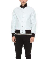 Golden Bear White Leather Baseball Jacket for men