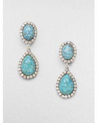 DANNIJO | Green Turquoise and Swarovski Crystal Drop Earrings | Lyst