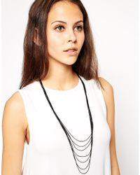 ASOS - Black Strands Long Necklace - Lyst
