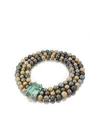 Faraone Mennella | Metallic Aspasia Natural Tahitian Pearl Necklace with Green Beryl Clasp | Lyst