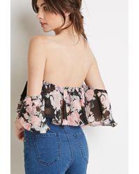 Forever 21 - Multicolor Floral Off-the-shoulder Crop Top - Lyst