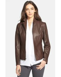 Cole Haan Brown Notch Collar Lambskin Leather Jacket