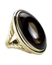 David Yurman | Metallic Pre-Owned: Vintage Oval Smoky Quartz Cocktail Ring In 18Ky | Lyst