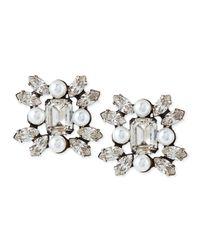 DANNIJO | Metallic Lilly Crystal Earrings | Lyst