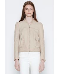 Joie - White Oshie Leather Bomber Jacket - Lyst