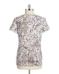 Calvin Klein - Natural Patterned Tee - Lyst