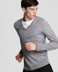 Burberry - Gray London Luxury Travel Merino V-Neck Sweater for Men - Lyst