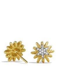David Yurman - Yellow Starburst Mini Earrings With Diamonds In Gold - Lyst