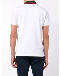 Gucci White Striped Collar Polo T-shirt for men