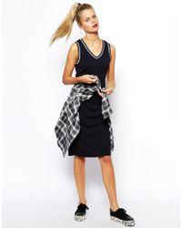 ASOS - Blue Midi Shift Dress With Stripe Trim - Lyst