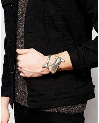 ASOS | Metallic Hammer Head Shark Wrap Bracelet In Silver for Men | Lyst