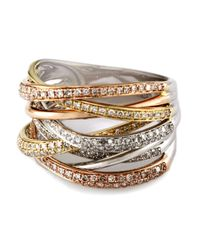 Effy | Multicolor Diamond 14k White, Rose And Yellow Gold Ring | Lyst