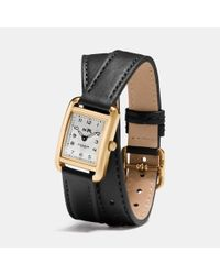 COACH - Black Thompson Gold Plated Double Wrap Watch - Lyst