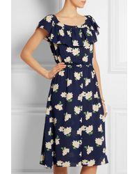 Michael Kors Blue Floral-Print Silk-Crepe Midi Dress