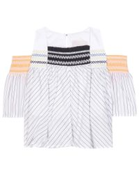 Peter Pilotto White Aria Smocked Cotton And Silk Top