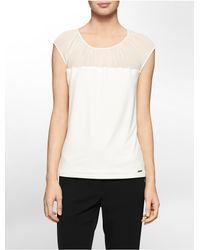 Calvin Klein - Natural White Label Chiffon Shoulder Cap Sleeve Top - Lyst