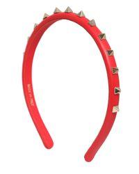 Valentino Red Rockstud Leather Headband