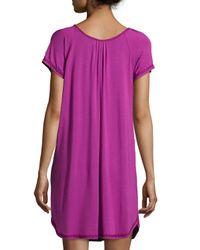 Oscar de la Renta - Purple Essential Luxuries Stretch Knit Short Gown - Lyst