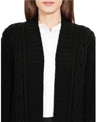 Lauren by Ralph Lauren Black Petite Cable-knit Open-front Cardigan