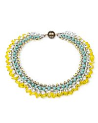 Tataborello | Yellow Blue Crystal Choker Necklace | Lyst