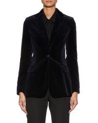 Raey Blue Single-Breasted Velvet Jacket