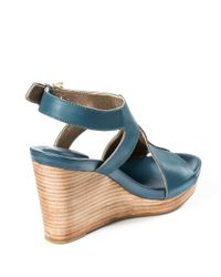 Me Too   Blue Atlantic Leather Wedges   Lyst