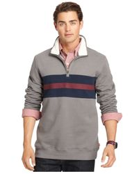 Izod | Gray Suede Fleece Quarter-zip Pullover for Men | Lyst