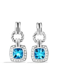 David Yurman - Renaissance Drop Earrings With Blue Topaz & Diamonds - Lyst
