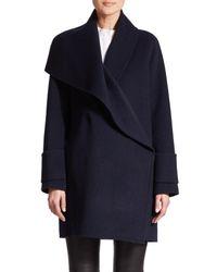 VINCE   Blue Asymmetric Drape-neck Wool Coat   Lyst