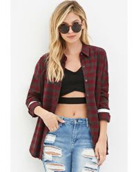 Forever 21 | Purple Varsity-striped Plaid Shirt | Lyst