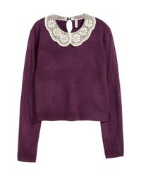 H&M Purple Jumper With A Lace Collar