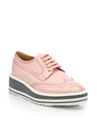 Prada Pink Leather Platform Wingtip Brogues