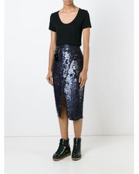 Filles A Papa - Blue Sequin Skirt With Small Leather Pockets - Lyst