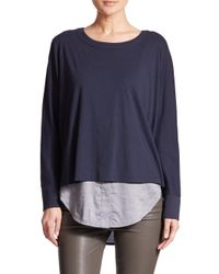 Vince - Blue Mixed Media Sweater - Lyst