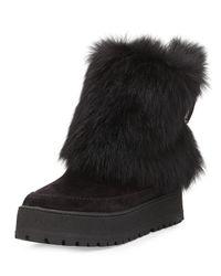 Prada Black Fold-Over Fur & Suede Winter Boot