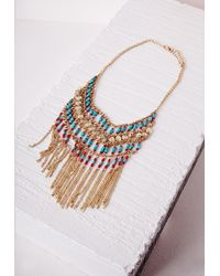 Missguided | Multicolor Statement Fringed Festival Necklace Multi | Lyst