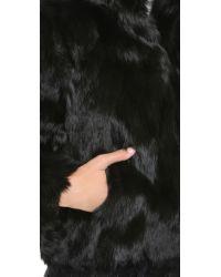 Adrienne Landau - Rabbit Fur Jacket - Black - Lyst