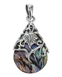 Aeravida | Multicolor Vintage Vine Adorned Abalone Teardrop .925 Silver Pendant | Lyst