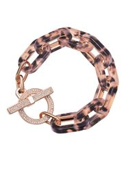 Michael Kors | Brown Faux Tortoise Link Pave Toggle Bracelet | Lyst