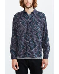 Stapleford Blue Roan Printed Flannel Button-down Shirt for men