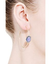 Jemma Wynne - Blue One Of A Kind Tanzanite and Diamond Hoop Earrings - Lyst