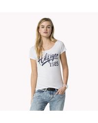 Tommy Hilfiger   White Cotton Scoop Neck T-shirt   Lyst